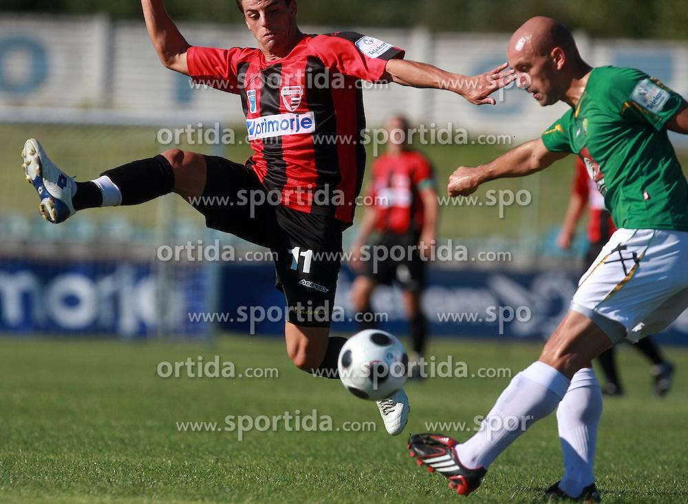 Nezbedin Selimi (11) of Primorje and Ales Jesenicnik (3) of Rudar at 6th Round of PrvaLiga Telekom Slovenije between NK Primorje Ajdovscina vs NK Rudar Velenje, on August 24, 2008, in Town stadium in Ajdovscina. Primorje won the match 3:1. (Photo by Vid Ponikvar / Sportal Images)