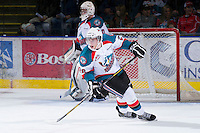 KELOWNA, CANADA - JANUARY 2:  Cole Linaker #26 of the Kelowna Rockets skates on the ice against Victoria Royals at the Kelowna Rockets on January 2, 2013 at Prospera Place in Kelowna, British Columbia, Canada (Photo by Marissa Baecker/Shoot the Breeze) *** Local Caption ***