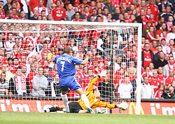 CARDIFF, WALES - SUNDAY, AUGUST 13th, 2006: Chelsea's Andriy Shevchenko scores the equalizer against Liverpool during the Community Shield match at the Millennium Stadium. (Pic by David Rawcliffe/Propaganda)