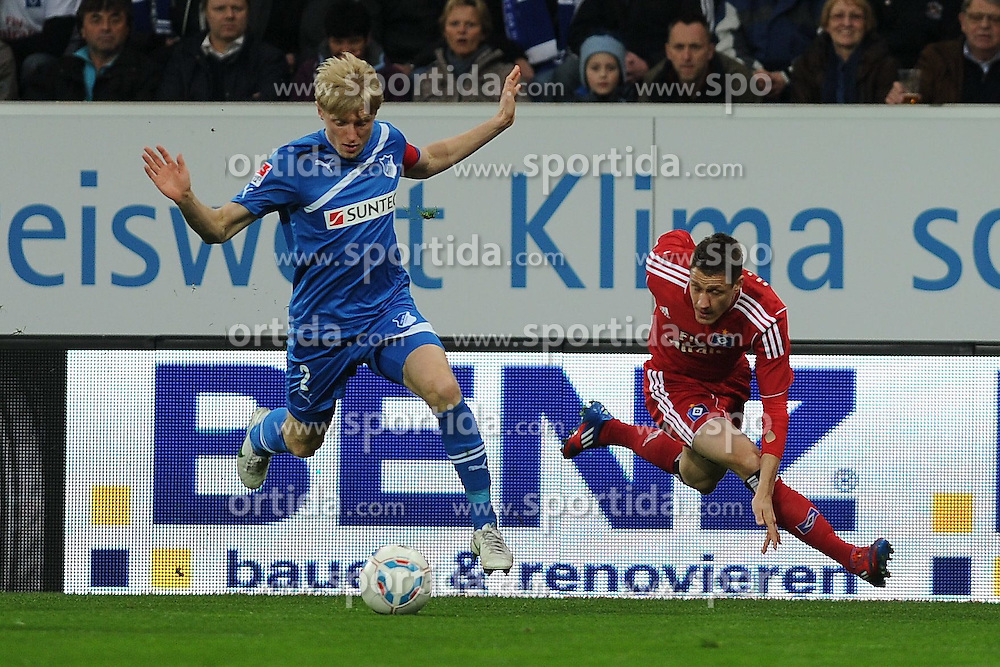 11.04.2012, Wirsol Rhein-Neckar-Arena, Sinsheim, GER, 1. FBL, TSG 1899 Hoffenheim vs Hamburger SV, 30. Spieltag, im Bild Andreas Beck (Hoffenheim #2) und Ivo Ilicevic (Hamburg #11) // during the German Bundesliga Match, 30th Round between TSG 1899 Hoffenheim and Hamburger SV at the Wirsol Rhein Neckar Arena, Sinsheim, Germany on 2012/04/11. EXPA Pictures © 2012, PhotoCredit: EXPA/ Eibner/ Ulrich Roth..***** ATTENTION - OUT OF GER *****