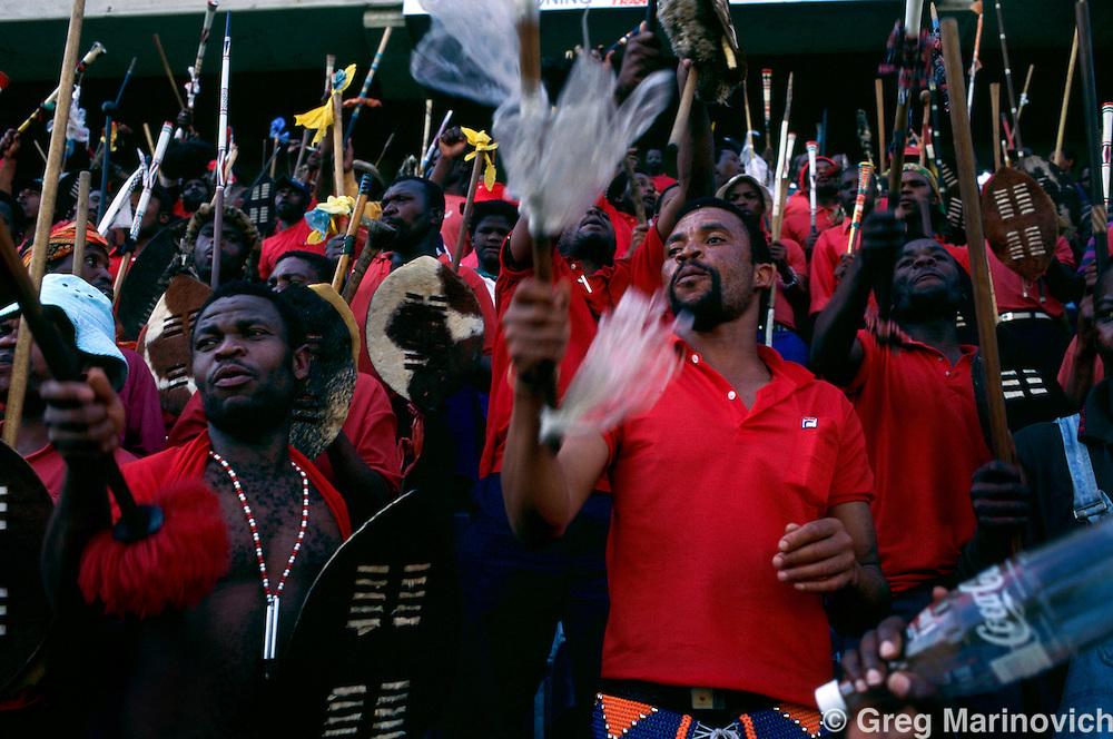 KwaZulu Natal, South Africa, 1995. Inkatha rally near Durban.  1995-04-27