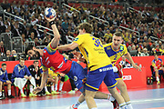 Raul Entrerrios (Spain) and Jesper Nielsen, Simon Jeppsson (Sweden) during the EHF 2018 Men's European Championship, Final Handball match between Spain and Sweden on January 28, 2018 at the Arena in Zagreb, Croatia - Photo Laurent Lairys / ProSportsImages / DPPI
