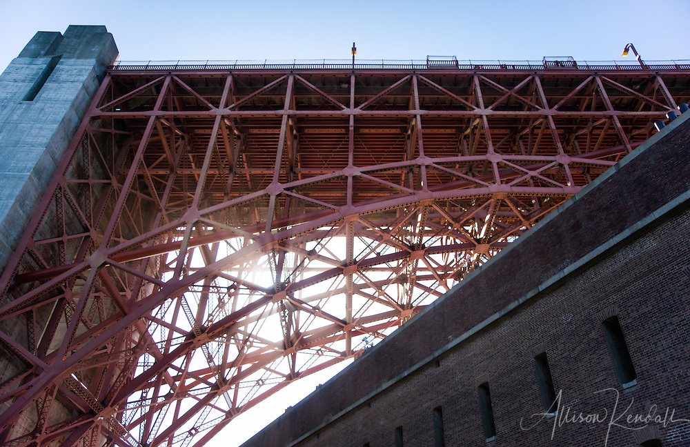 Detail views of the Golden Gate Bridge, as seen from Fort Point, San Francisco