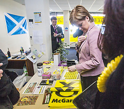 First Minister of Scotland and leader of the SNP Nicola Sturgeon, out on the election trail to make sure people are out voting today, May 7, 2015 in Glasgow, Scotland. In the SNP office in Westmuir Street.
