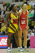 England Women WD Jade Clarke and Uganda WA Halima Nakachwa during the Netball World Cup 2019 Preparation match between England Women and Uganda at Copper Box Arena, Queen Elizabeth Olympic Park, United Kingdom on 30 November 2018.