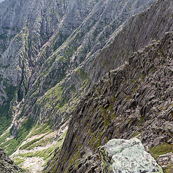 Cliffs as seen from the Knife Edge Trail on Mount Katahdin in Maine's Baxter State Park.