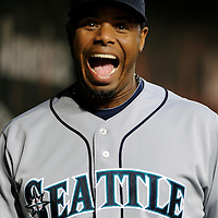09 June 2009:  Seattle Mariners designated hitter Ken Griffey Jr. (24) smiles in the dugout during the game against the Baltimore Orioles at Camden Yards in Baltimore, MD.  The Orioles defeated the Mariners 3-1.  ****For Editorial Use Only****