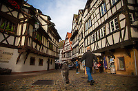 Strasbourg, France - November 16, 2014: The historic neighborhood Petite-France, which is known for its medieval half-timbered houses, lies on Grande Île, where the river Ill splits into a number of canals. The neigborhood's winding cobblestone streets and beautiful views invite locals and tourists alike for a stroll. CREDIT: Chris Carmichael for the New York Times