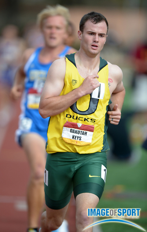 May 5, 2013; Los Angeles, CA, USA; Dakotah Keys of Oregon runs 4:25.76 for 773 points in the 2013 Pac-12 Championships at Cromwell Field. Keys was the overall winner with 8,001 points.