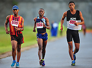 CAPE TOWN, SOUTH AFRICA - OCTOBER 10: Lewis Molise (505), Mtunzi Mnisi (504) and Lindokuhle Ntombela (506) in the mens 50km during the South African Race Walking Championship at Youngsfield Military Base on October 10, 2015 in Cape Town, South Africa. (Photo by Roger Sedres/ImageSA)