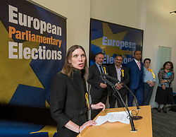 Pictured: New SNP MEP Aileen McLeod speaks after the declaration, watched by her colleagues.<br /> <br /> Scotland's results in the European elections were announced at the City Chambers in Edinburgh.<br /> <br /> © Dave Johnston / EEm