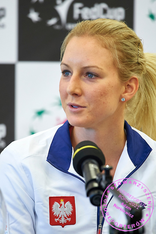 Urszula Radwanska from Poland speaks during official draw one day before the Fed Cup / World Group 1st round tennis match between Poland and Russia at Holiday Inn on February 6, 2015 in Cracow, Poland.<br /> <br /> Poland, Cracow, February 6, 2015<br /> <br /> Picture also available in RAW (NEF) or TIFF format on special request.<br /> <br /> For editorial use only. Any commercial or promotional use requires permission.<br /> <br /> Adam Nurkiewicz declares that he has no rights to the image of people at the photographs of his authorship.<br /> <br /> Mandatory credit:<br /> Photo by &copy; Adam Nurkiewicz / Mediasport