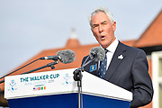 Chris Hilton, Captain of the Royal and Ancient Golf Club of St Andrews gives a welcome speach during the Walker Cup Opening Ceremony, Friday at the Royal Liverpool Golf Club, Friday, Sept 6, 2019, in Hoylake, United Kingdom. (Steve Flynn/Image of Sport)