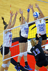 23 November 2017:  Laura Gross sends the attack to Grace Schofield, Gillian Gergen, and Cathryn Cheek during a college women's volleyball match between the Drake Bulldogs and the Indiana State Sycamores in the Missouri Valley Conference Tournament at Redbird Arena in Normal IL (Photo by Alan Look)