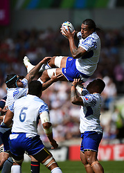 Filo Paulo of Samoa claims the ball in the air - Mandatory byline: Patrick Khachfe/JMP - 07966 386802 - 20/09/2015 - RUGBY UNION - Brighton Community Stadium - Brighton, England - Samoa v USA - Rugby World Cup 2015 Pool B.