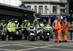 UK ENGLAND LONDON 7JUL05 - London Underground workers and the Metropolitan police secure the area around Edware Road station, site to one of the seven bomb blasts on London's public transport system in central London today. At least two people have been killed and scores have been injured after at least seven blasts on the Underground network and a double-decker bus in London...jre/Photo by Jiri Rezac ..© Jiri Rezac 2005..Contact: +44 (0) 7050 110 417.Mobile:  +44 (0) 7801 337 683.Office:  +44 (0) 20 8968 9635..Email:   jiri@jirirezac.com.Web:    www.jirirezac.com..© All images Jiri Rezac 2005 - All rights reserved.