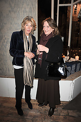 Left to right, ANNABEL ELLIOT and LEONORA, COUNTESS OF LICHFIELD at the opening of Luke Irwin's showroom at 22 Pimlico Road, London SW1 on 24th November 2010.