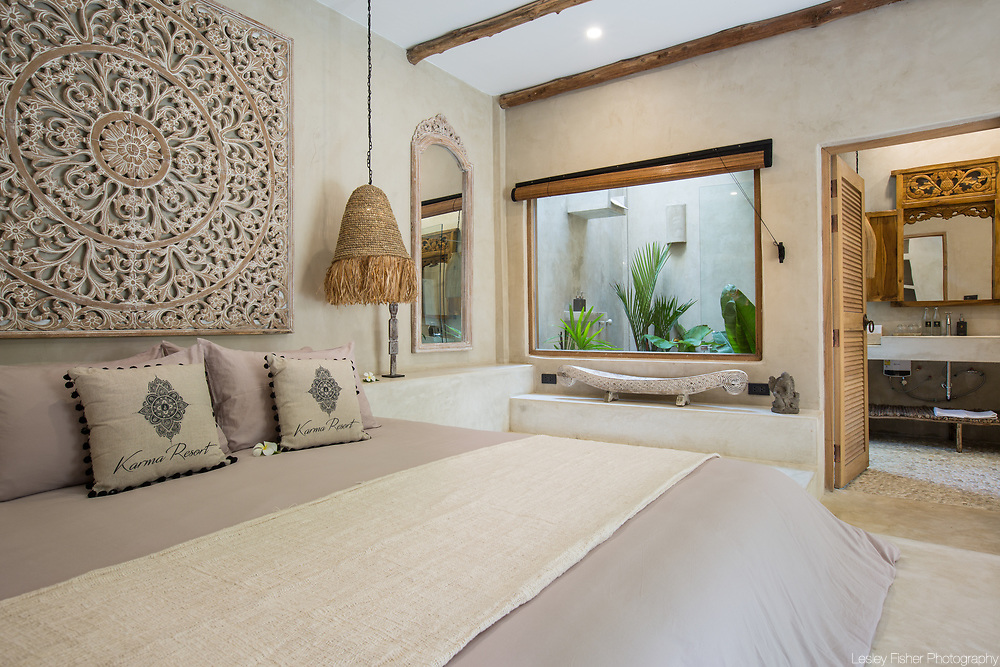 Bedroom of pool villa at Karma Beach Resort. A Beach resort located on Bophut Beach, Koh Samui, Thailand