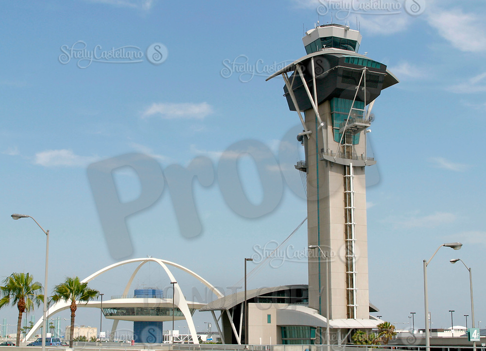 Jul 04, 2002; Los Angeles, CA, USA; Both the old and new air control towers at Los Angeles International airport.<br />