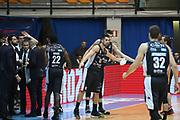 Esultanza Trento, RED OCTOBER CANTU' vs DOLOMITI ENERGIA TRENTINO, 2°giornata Campionato Lega Basket Serie A 2018/2019, PalaDesio 14 ottobre 2018 - FOTO: Bertani/Ciamillo