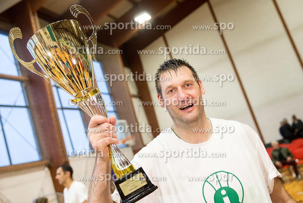 Goran Jagodnik of Ilirija celebrates at Jagodnik's end of a career after basketball match between KD Ilirija and KK Mesarija Prunk Sezana in Last Round of 2. SKL  2016/17, on April 15, 2017 in GIB center, Ljubljana, Slovenia. Photo by Vid Ponikvar / Sportida