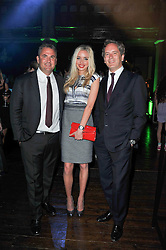 Left to right, MICHAEL SILVERLING, NOELLE RENO and HUGH WARRENDER at a party to launch the Dom Perignon Luminous label held at No.1 Mayfair, London on 24th May 2011.