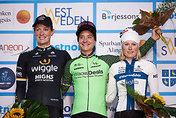 Top three: Marianne Vos (NED), Kirsten Wild (NED) and Lotta Lepistö (FIN) at Postnord Vårgårda West Sweden Road Race 2018, a 141 km road race in Vårgårda, Sweden on August 13, 2018. Photo by Sean Robinson/velofocus.com