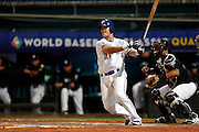 NEW TAIPEI CITY, TAIWAN - NOVEMBER 15:  Chih-Shen Lin #31 of Team Chinese Taipei hits a two run RBI single in the bottom of the fifth inning during Game 2 of the 2013 World Baseball Classic Qualifier against Team New Zealand at Xinzhuang Stadium in New Taipei City, Taiwan on Thursday, November 15, 2012.  Photo by Yuki Taguchi/WBCI/MLB Photos