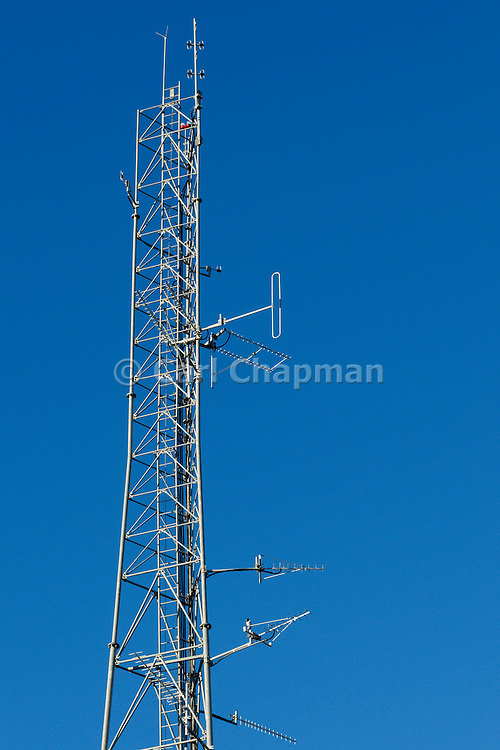 Mobile radio and yagi antennas on  lattice tower in Port Macquaire, New South Wales