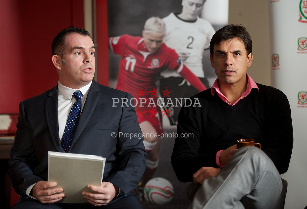 PRESTATYN, WALES - Friday, January 11, 2013: Welsh team manager Chris Coleman and Project FUTSAL coordinator Tony Maguire during the launch of the second Project FUTSAL hub in North Wales at Prestatyn Town Football Club. (Pic by David Rawcliffe/Propaganda)