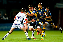 Matti Williams of Worcester Cavaliers takes on Nathan Pope of Sale Jets - Mandatory by-line: Robbie Stephenson/JMP - 24/09/2018 - RUGBY - Sixways Stadium - Worcester, England - Worcester Cavaliers v Sale Jets - Premiership Rugby Shield