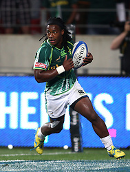 Branco du Preez of South Africa crosses to score during the Cup Final match between South Africa and New Zealand on Day 2 of the HSBC Sevens World Series Port Elizabeth Leg held at the Nelson Mandela Bay Stadium on 8th December 2013 in Port Elizabeth, South Africa. Photo by Shaun Roy/Sportzpics