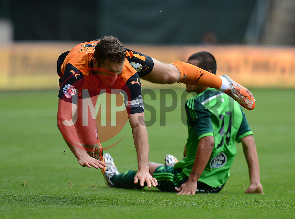 Wolverhampton's Samuel Ricketts gets fouled.  - Photo mandatory by-line: Alex James/JMP - Tel: Mobile: 07966 386802 2/08/2014 - SPORT - FOOTBALL -  Wolverhampton - Molineux Stadium  -   Wolverhampton vs  Celta Vigo - preseason