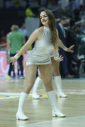 April 25, 2018 - Madrid, Madrid, Spain - cheerleader of Real Madrid during the Turkish Airlines Euroleague play-off quarter final series third match between Real Madrid and Panathinaikos Superfoods at the Wizink Center in Madrid, Spain on April 25, 2018  (Credit Image: © Oscar Gonzalez/NurPhoto via ZUMA Press)