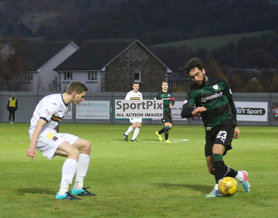 Rory McKeown breaks though the sons defence  during the Dumbarton v Raith Rovers Scottish Championship 21  November 2015 <br /> <br /> (c) Andy Scott | SportPix.org.uk