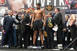© Licensed to London News Pictures. 21/09/2018. London, UK. British heavyweight professional boxer Anthony Joshua weighs in before his fight with Russian boxer Alexander Povetkin at Wembley stadium. Photo credit: Ray Tang/LNP