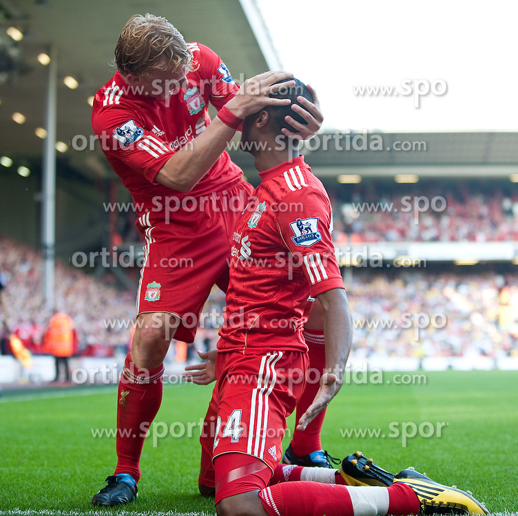 15.08.2010, Anfield, Liverpool, ENG, PL, FC Liverpool vs FC Arsenal, im Bild Liverpool's David Ngog celebrates scoring the opening goal against Arsenal with team-mate Dirk Kuyt during the Premiership match at Anfield. l. EXPA Pictures © 2010, PhotoCredit: EXPA/ Propaganda/ David Rawcliffe / SPORTIDA PHOTO AGENCY