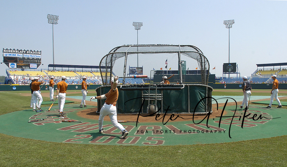 The Texas Longhorns take batting practice before game two of the Championship Series at the College World Series with Florida at Rosenblatt Stadium in Omaha, Nebraska on June 26, 2005.