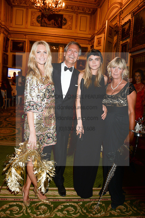Left to right, POPPY DELEVINGNE, CHARLES DELEVINGNE, CARA DELEVINGNE and PANDORA DELEVINGNE at The Animal Ball in aid of The Elephant Family held at Lancaster House, London on 9th July 2013.