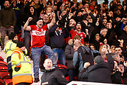 Middlesbrough fans celebrating the first goal during the EFL Sky Bet Championship match between Middlesbrough and Ipswich Town at the Riverside Stadium, Middlesbrough, England on 29 December 2018.