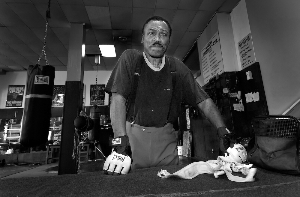 Joe Frazier in his Gym in Philadelphia<br />