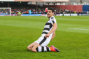Forest Green Rovers Omar Bugiel(11) scores a goal 0-1 and celebrates during the Vanarama National League match between York City and Forest Green Rovers at Bootham Crescent, York, England on 29 April 2017. Photo by Shane Healey.