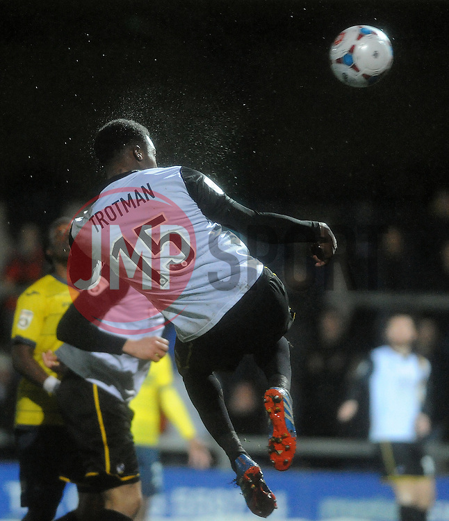 Bristol Rovers' Neal Trotman heads a chance over - Photo mandatory by-line: Neil Brookman/JMP - Mobile: 07966 386802 - 26/12/2014 - SPORT - football - Torquay - Plainmoor - Bristol Rovers v Torquay United - Vanarama Conference
