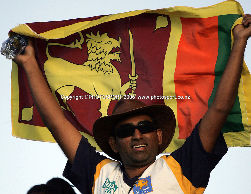 A Sri Lnakan fan during the Super 8 Cricket World Cup match, England v Sri Lanka at the Sir Vivian Richards Cricket Ground in Antigua, West Indies on Wednesday 4 April 2007. Sri Lanka batted first, scored 235 and won by 2 runs. Photo: Andrew Cornaga/PHOTOSPORT **NO AGENTS**<br />
