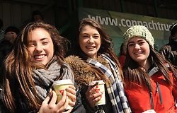 Ballinrobe supporters Aoife O&rsquo;Toole, Ali Madden and Blaithnaid Walsh at the Connacht rugby finals at the Sportsground in Galway. <br /> Pic Conor McKeown