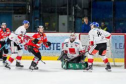 10.03.2019, Ice Rink, Znojmo, CZE, EBEL, HC Orli Znojmo vs HC TWK Innsbruck Die Haie, Qualifikationsrunde, 54. Runde, im Bild v.l. Nicolas Hlava (HC Orli Znojmo) Sacha Guimond (HC TWK Innsbruck) Adam Sedlak (HC Orli Znojmo) Rene Swette (HC TWK Innsbruck) Nicholas Ross (HC TWK Innsbruck) // during the Erste Bank Eishockey League 54th round match between HC Orli Znojmo and HC TWK Innsbruck Die Haie at the Ice Rink in Znojmo, Czech Republic on 2019/03/10. EXPA Pictures © 2019, PhotoCredit: EXPA/ Rostislav Pfeffer