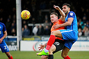 Southend United striker Simon Cox (10) and Peterborough United defender Ryan Tafazolli (5) during the EFL Sky Bet League 1 match between Peterborough United and Southend United at London Road, Peterborough, England on 3 February 2018. Picture by Nigel Cole.