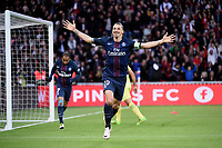 Swedish forward Zlatan Ibrahimovic of Paris Saint Germain celebrates scoring the 1st goal for his team during the French Championship Ligue 1 football match between Paris Saint Germain and FC Nantes on May 14, 2016 at Parc des Princes stadium in Paris, France - Photo Jean Marie Hervio / Regamedia / DPPI