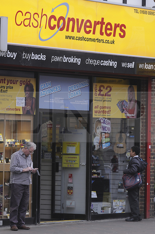 © Licensed to London News Pictures. 06/03/2013.Cash Converters,Orpington,Kent..The UK's biggest payday loans firms are facing the prospect of being put out of business unless they implement swift changes to their practices within 12 weeks..The ultimatum was issued by the Office of Fair Trading (OFT) following a wide-ranging investigation of the controversial sector .Lenders will also be required to make sure that interest rates are clearly displayed.Photo credit : Grant Falvey/LNP