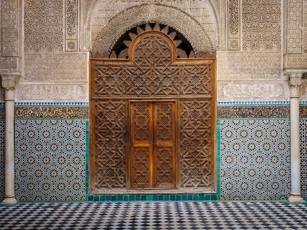 FEZ, MOROCCO - CIRCA APRIL 2017:  Interior view of typical Moroccan patio in Fez